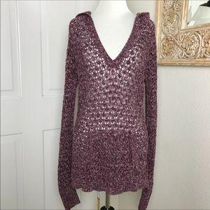 Maurice's Crochet Hoodie Sweater Open Weave Purple
